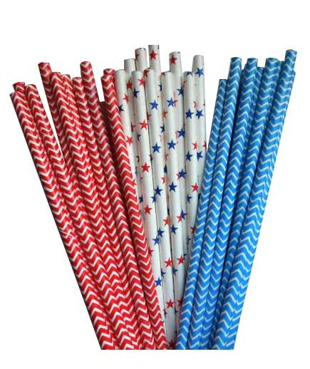 4th of July Drinking Paper Straws