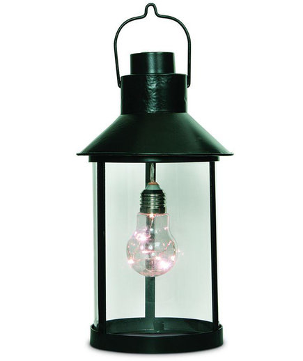 Round Metal Lantern with Edison Bulb