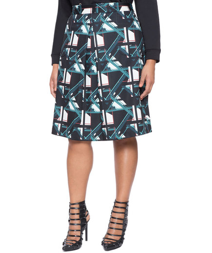 Eloquii Pleated Geometric Skirt