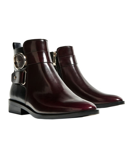 Zara Contrast Buckle Ankle Boots