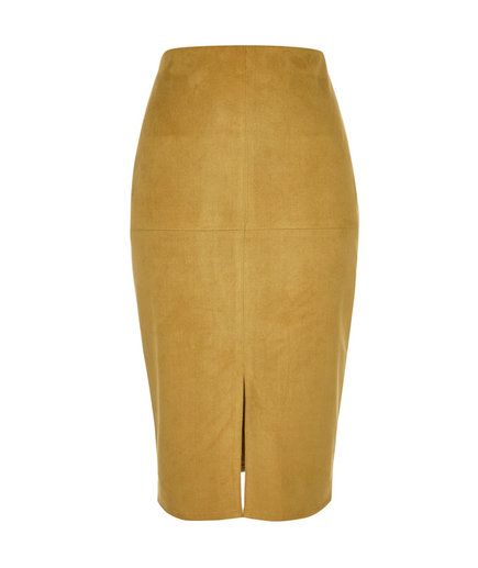 River Island Mustard Yellow Suedette Pencil Skirt