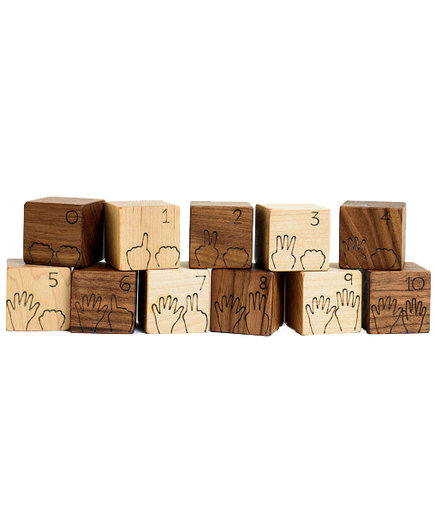 Manzanita Kids Counting Numbers Natural Wood Blocks Set