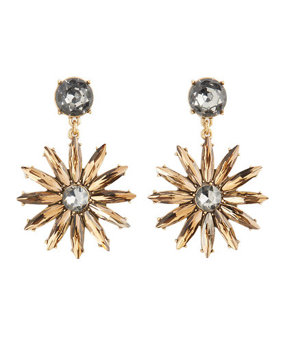 Crystal Sequin Floral Drop Earrings