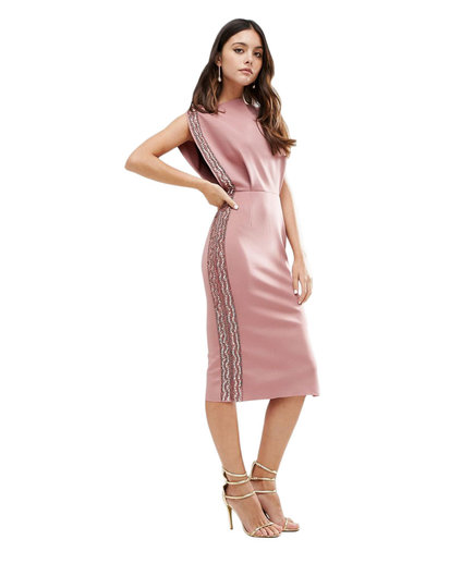 ASOS Embellished Trim Midi Dress