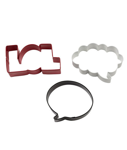 Wilton 3-Piece Bubbles, LOL, Colored Cookie Cutter Set