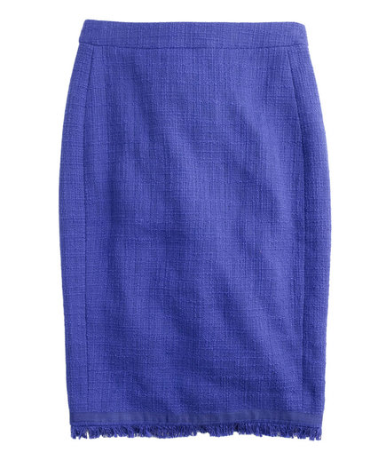 J. Crew Textured Tweed Pencil Skirt With Fringe