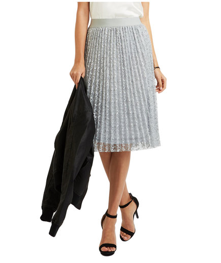 Charlotte Russe Lace Pleated Midi Skirt