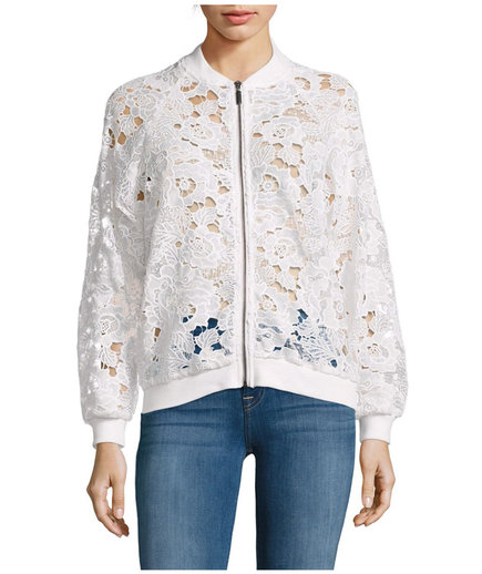 Saks Fifth Avenue Long Raglan Sleeve Lace Bomber Jacket