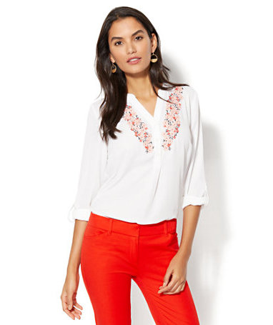 New York & Company Floral-Embroidered Popover Blouse