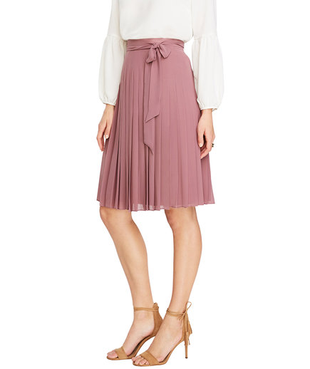Side Tie Pleated Skirt