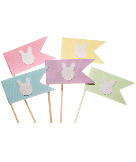 Easter Bunny Flag Cupcake Toppers