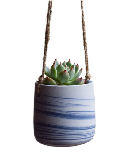 Marbled Blue Hanging Planter