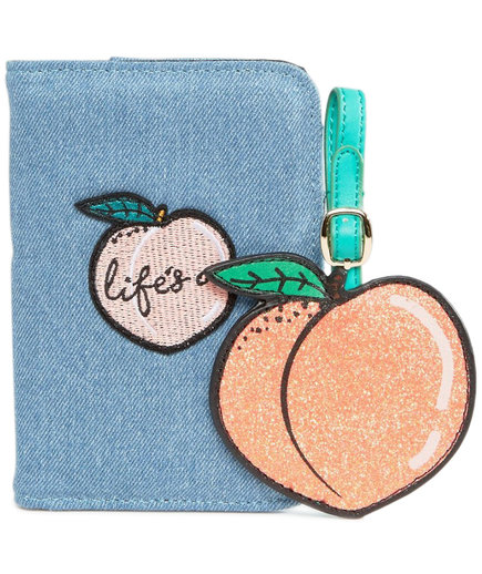 Skinnydip Peachy Passport Holder & Luggage Tag Set