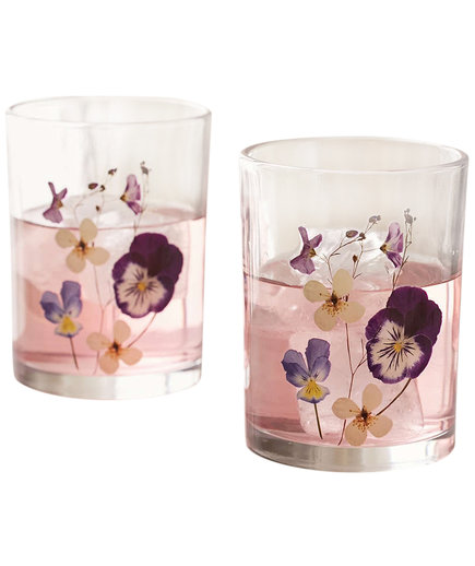 Pressed Floral Glasses Set