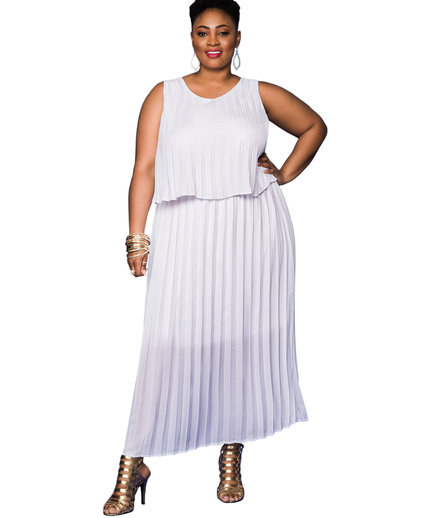 Ashley Stewart Pleated Tiered Maxi Dress