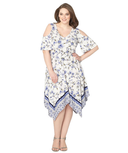 Avenue Blue Mixed Floral Cold Shoulder Dress