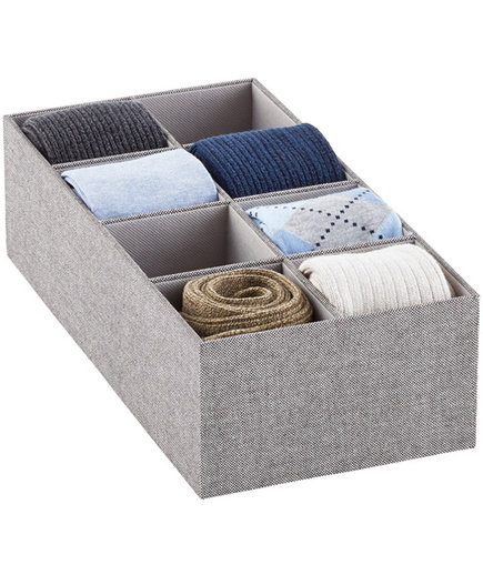 8-section Grey Drawer Organizer