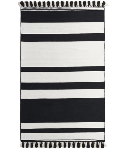 Black and Cream Stripe Woven Indoor Outdoor Rug