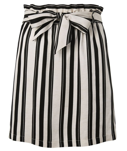 Topshop Striped Linen Paper Bag Skirt