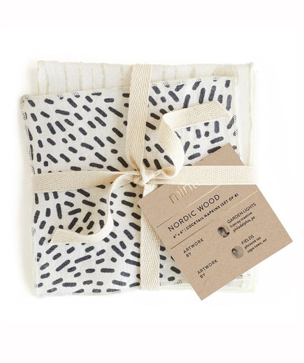 Minted Nordic Wood Linen Cocktail Napkin Set