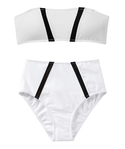 Express Color Block Bandeau Bikini Top and High Waisted Bottom