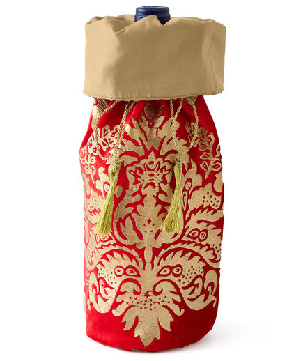 Crimson & Gold Khari-Print Wine Bag in Ivory/Gold