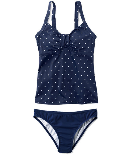 L.L.Bean Sweetheart Tankini Dot Top and Mid-Rise Brief
