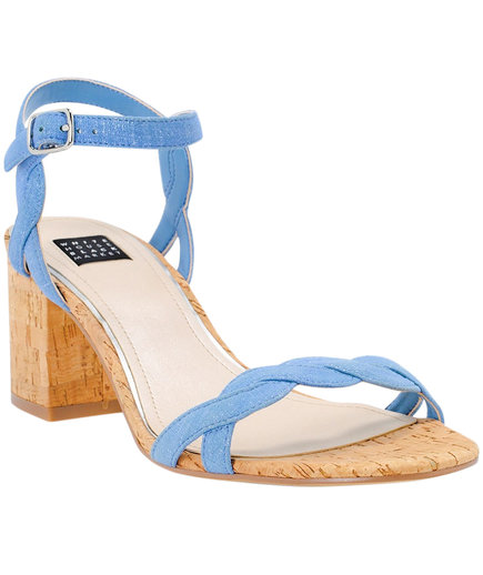 White House Black Market Chambray Cork Heels