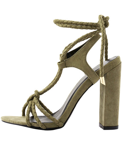 Lulu's Ophelia Olive Suede Lace-Up Sandals