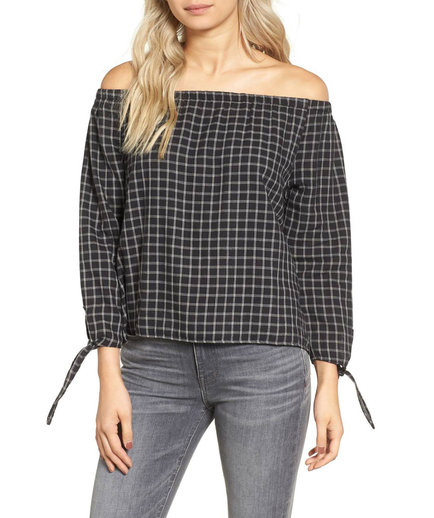 Madewell Plaid Off the Shoulder Top