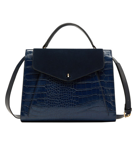 Zara Embossed City Bag With Contrasting Leather Flap