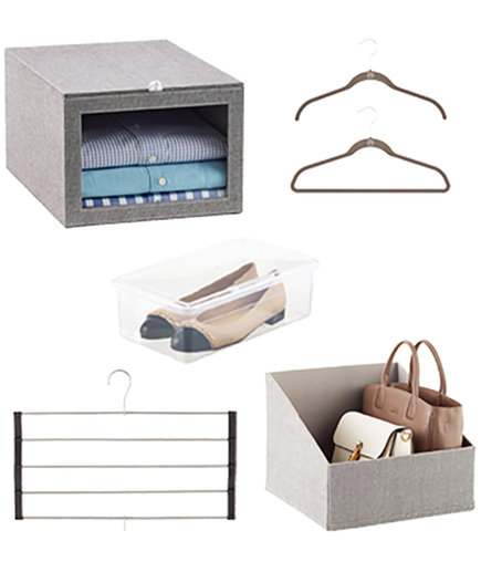 Container Store Grey Linen Closet Starter Kit