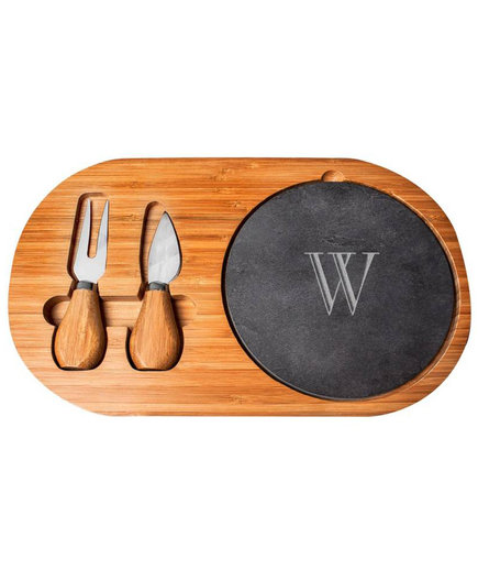 Cathy's Concepts Monogram Cheese Board and Utensils
