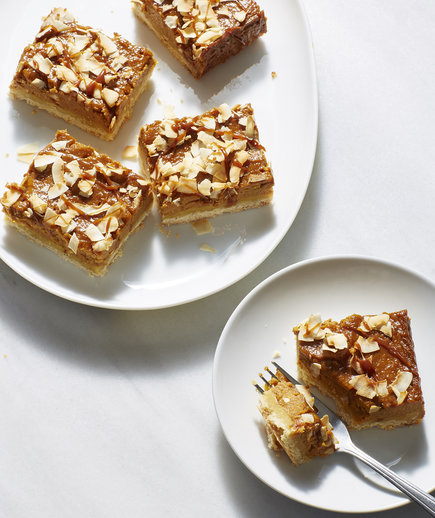 Pumpkin Caramel Pie Bars With Toasted Coconut