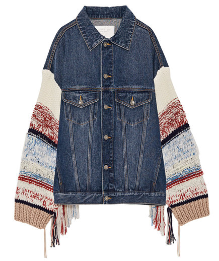 Zara Denim Jacket with Contrasting Sleeves