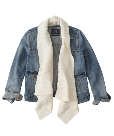 Abercrombie and Fitch Sweater Front Denim Jacket