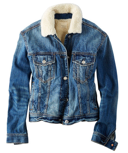 American Eagle Outfitters Faux-Sherpa Lined Denim Jacket