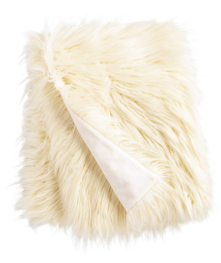 Ivory Mongolian Faux Fur Throw