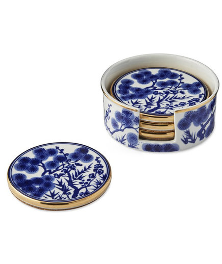 Chinoiserie Ceramic Coasters with Holder, Blue and White