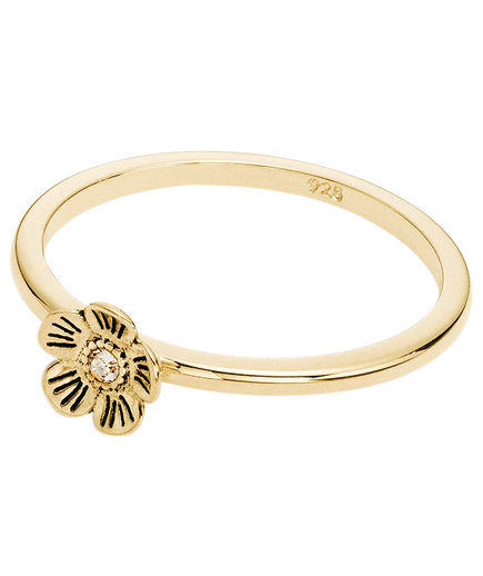 Coach Mini 18k Gold Plated Willow Floral Ring