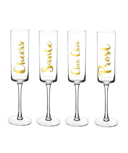 """""""Cheers"""" Champagne Flutes"""