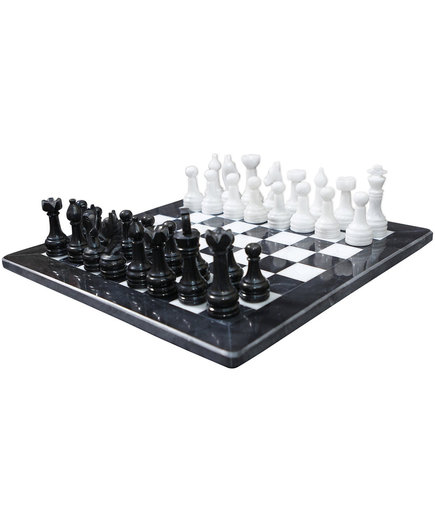 WorldWise Imports Black and White Marble Chess Set
