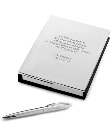 Personalized Silver Journal with Pen