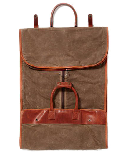 Leather and Canvas Garment Bag