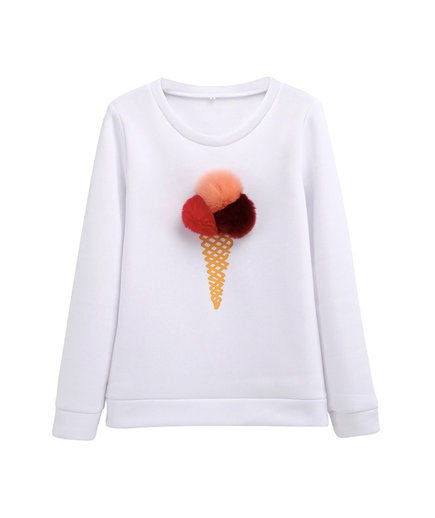 Ice Cream Fur Pom-Pom Sweater