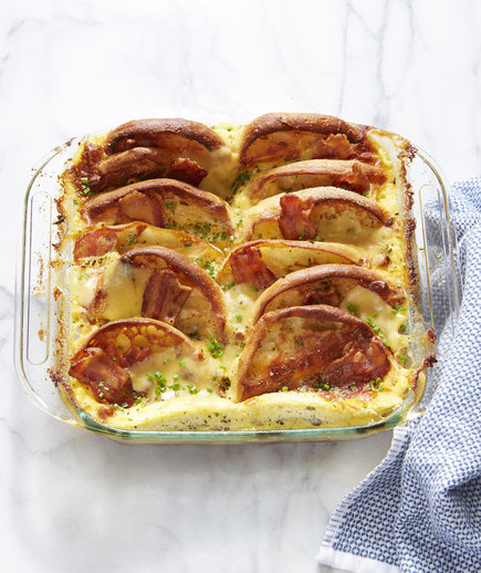 Bacon, Egg, and Cheese English Muffin Strata