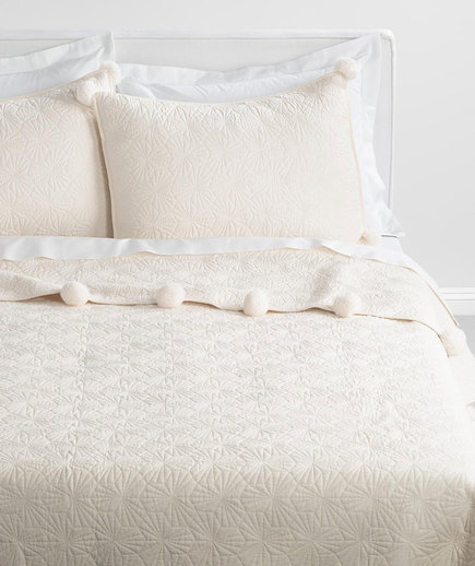Ivory Quilted Pompom Bedding Collection
