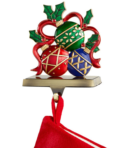 Ornaments with Ribbon Stocking Holder