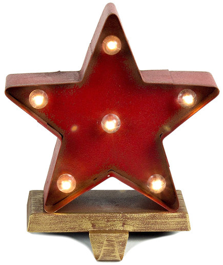 Lit Star Stocking Holder