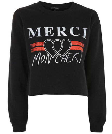 Merci Cropped Sweatshirt